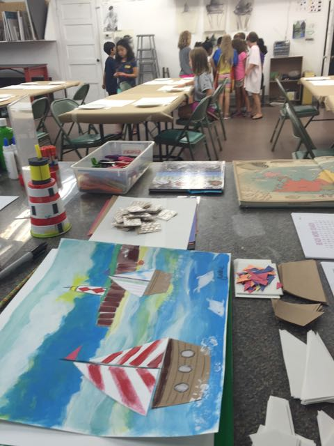 Day One: Sailboat mixed media paintings and lighthouses